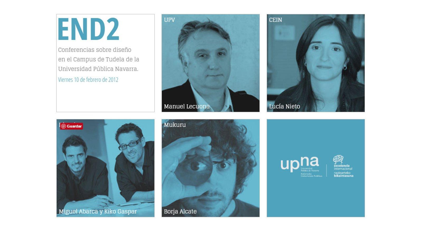 Flyer promoción Conferencias sobre diseño en el campus de Tudela Universidad publica de Navarra END2