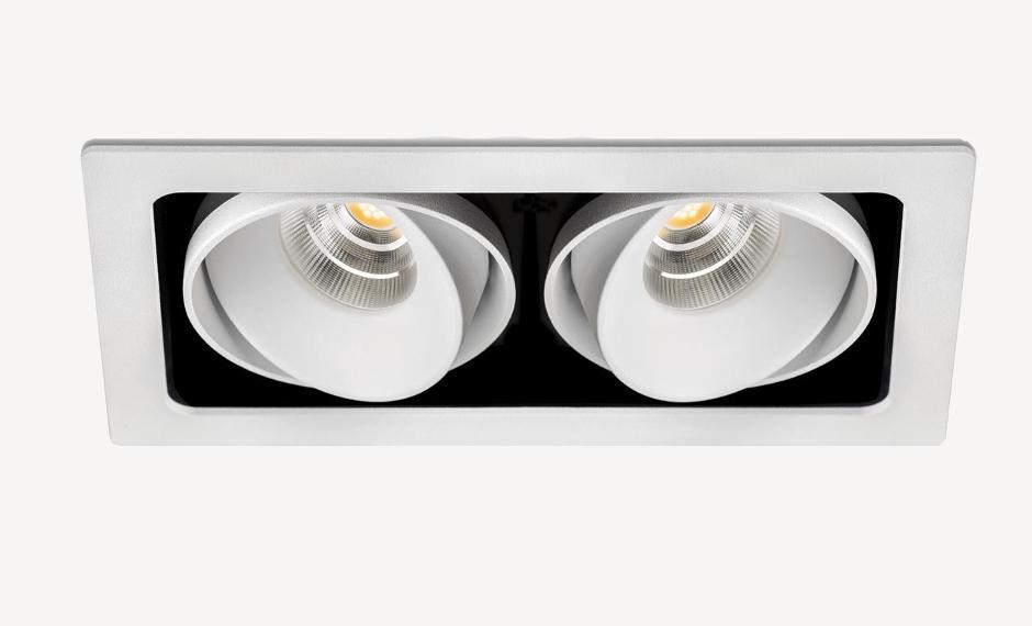Desarrollo técnico para luz doble empotrada direccionable diseño de discoh design para arkoslight