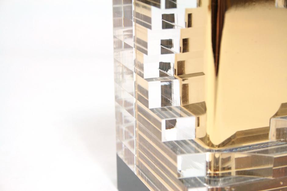 detalle bocado trofeo trophy diseñado por discoh design para premios expone oro cliente edecom21