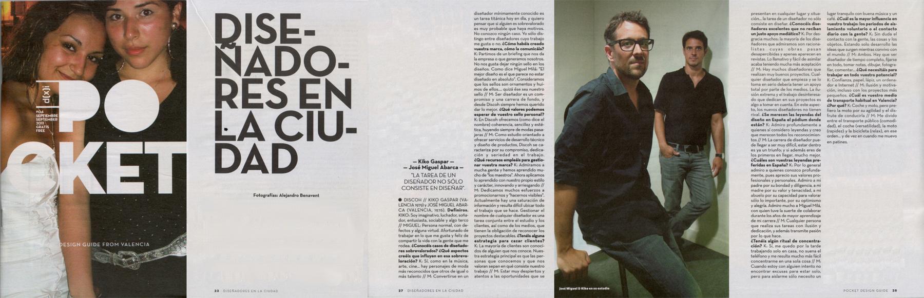 Entrevista a Miguel Abarca y Kiko Gaspar para la revista Pocket Design. Diseñadores de la ciudad