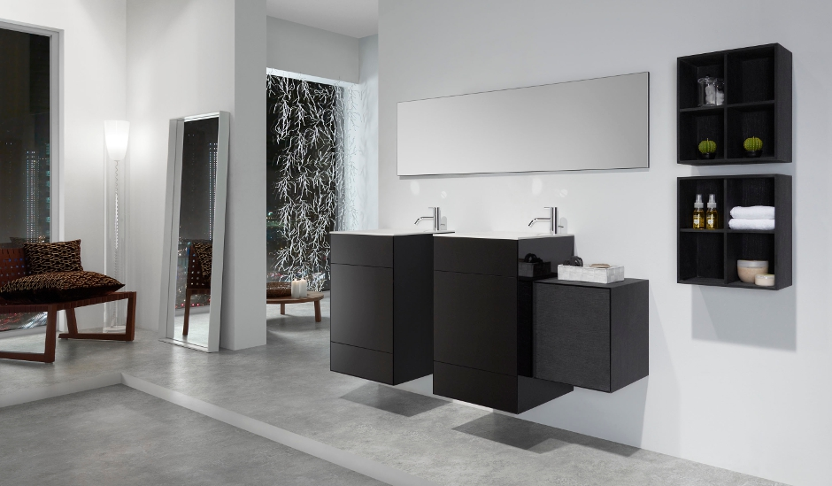 composicion modular del mobiliario OLA de discoh con lavabo contenedor en interior de diseño